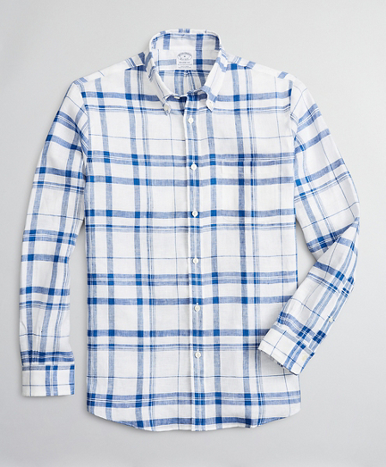 Regent Regular-Fit Sport Shirt, Irish Linen Plaid