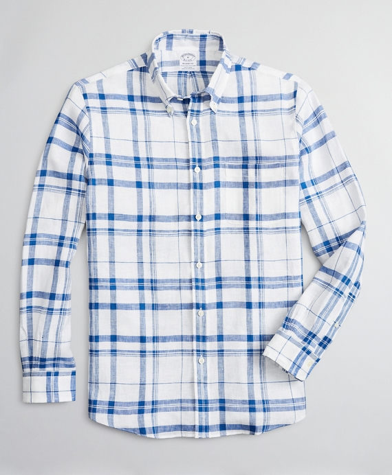 Regent Regular-Fit Sport Shirt, Irish Linen Plaid Blue