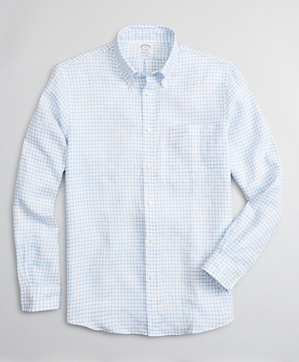 Regent Regular-Fit Sport Shirt, Irish Linen Windowpane
