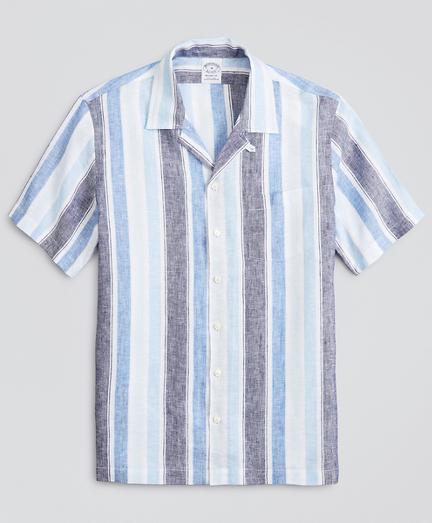 Regent Fitted Sport  Shirt, Irish Linen Camp Collar Short-Sleeve Stripe