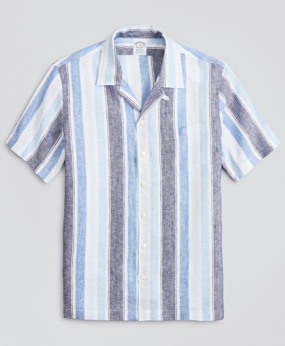 Regent Regular-Fit Sport  Shirt, Irish Linen Camp Collar Short-Sleeve Stripe Blue