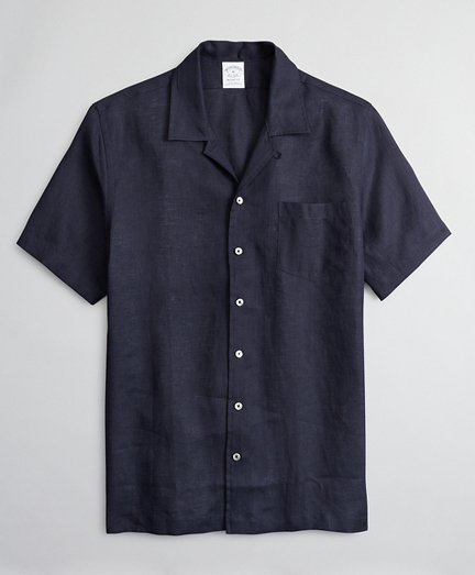 Regent Fitted Sport  Shirt, Irish Linen Camp Collar Short-Sleeve