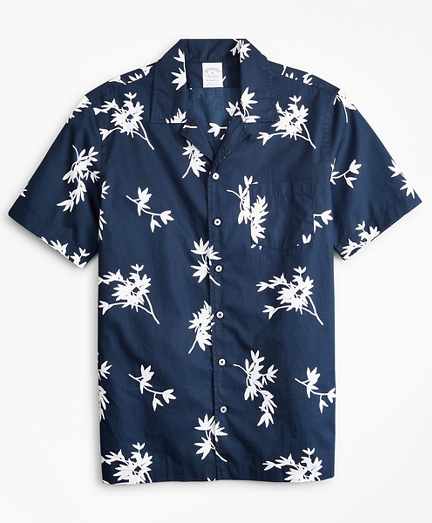 Regent Fitted Sport  Shirt, Poplin Camp Collar Short-Sleeve Floral Print