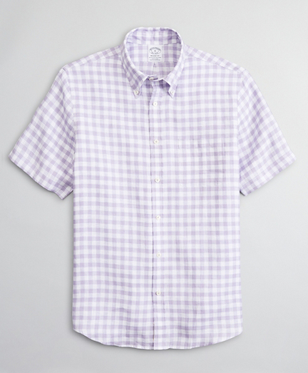 Regent Fitted Sport Shirt, Irish Linen Short-Sleeve Gingham