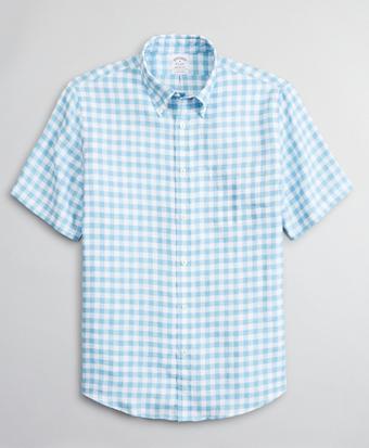 Regent Regular-Fit Sport Shirt, Irish Linen Short-Sleeve Gingham