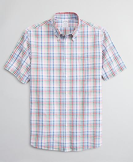 Regent Regular-Fit Sport Shirt, Seersucker Short-Sleeve Multi-Check