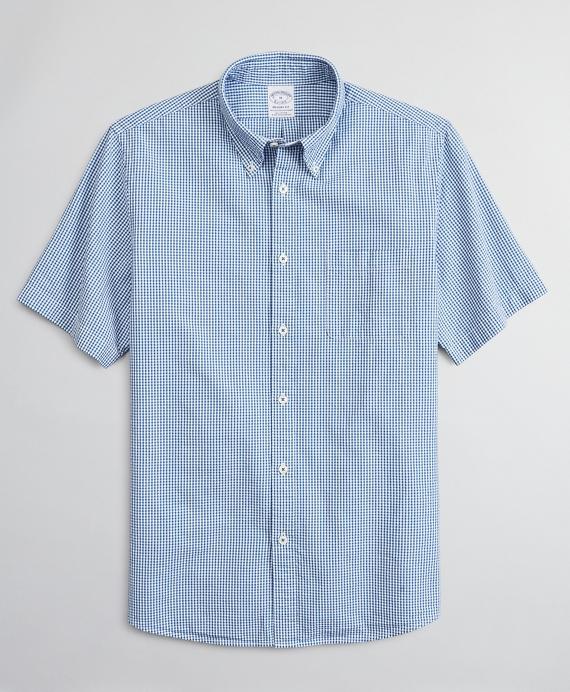 Regent Regular-Fit Sport Shirt, Seersucker Short-Sleeve Gingham Blue