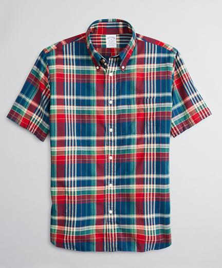 Regent Fitted Sport Shirt, Red Madras Short-Sleeve