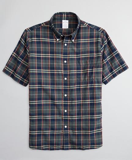Regent Fitted Sport Shirt, Olive Madras Short-Sleeve