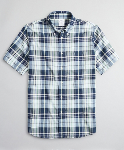 Regent Fitted Sport Shirt, Madras Short-Sleeve