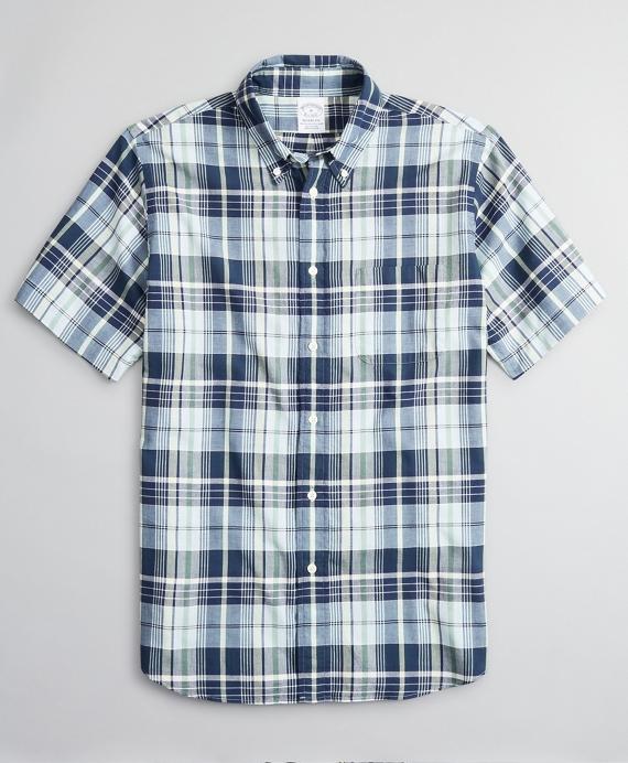 Regent Regular-Fit Sport Shirt, Madras Short-Sleeve Blue