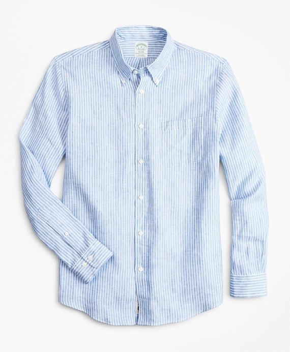 Milano Slim-Fit Sport Shirt, Irish Linen Stripe Blue