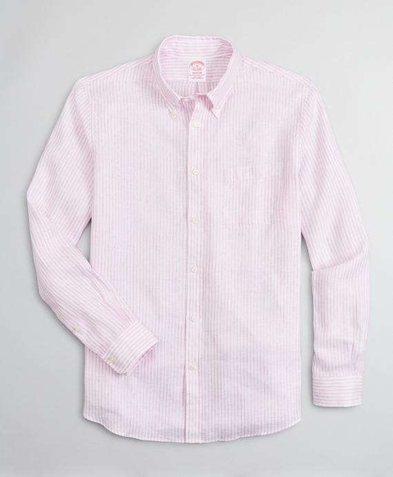 Madison Relaxed-Fit Sport Shirt, Irish Linen Dobby Stripe Pink
