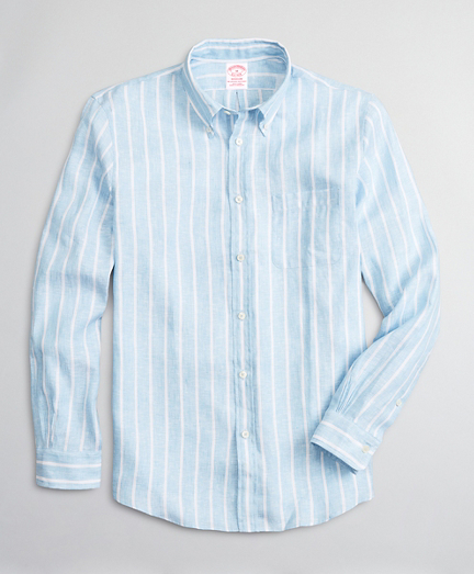 Madison Relaxed-Fit Sport Shirt, Irish Linen Large Stripe