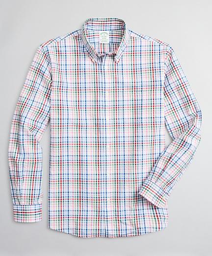 Milano Slim-Fit Sport Shirt, Seersucker Multi-Check