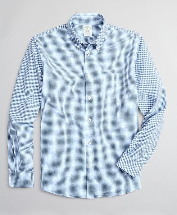 Milano Slim-Fit Sport Shirt, Seersucker Gingham Blue