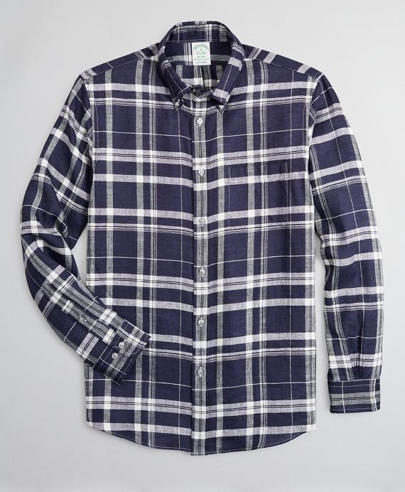 Milano Slim-Fit Sport Shirt, Irish Linen Large Plaid Navy