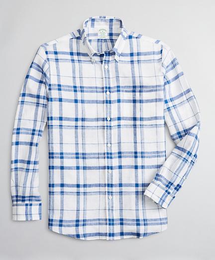 Milano Slim-Fit Sport Shirt, Irish Linen Plaid