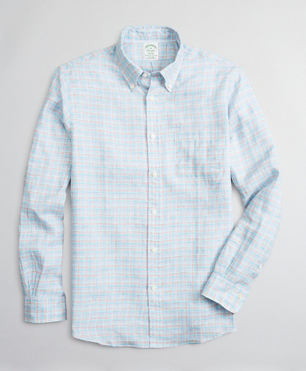 Milano Slim-Fit Sport Shirt, Irish Linen Mini-Check