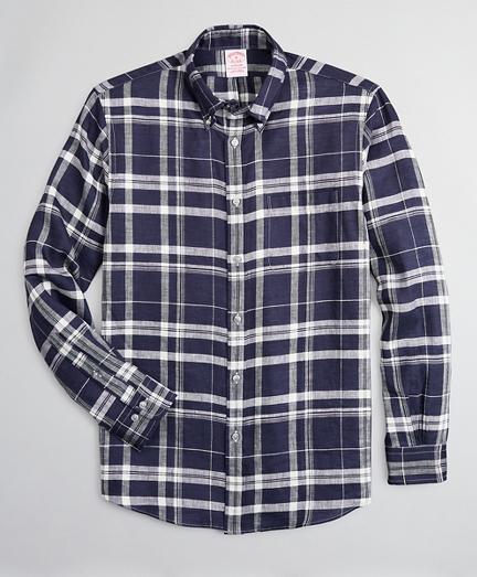 Madison Relaxed-Fit Sport Shirt, Irish Linen Large Plaid