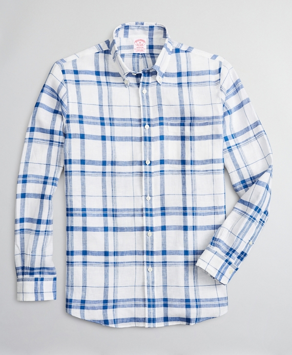 Madison Relaxed-Fit Sport Shirt, Irish Linen Plaid Blue