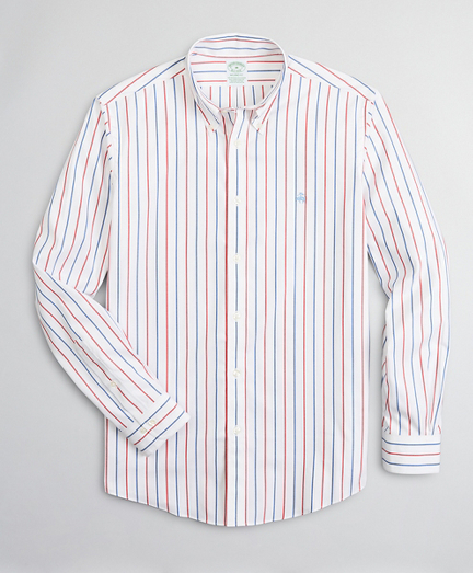 Stretch Milano Slim-Fit Sport Shirt, Non-Iron Stripe