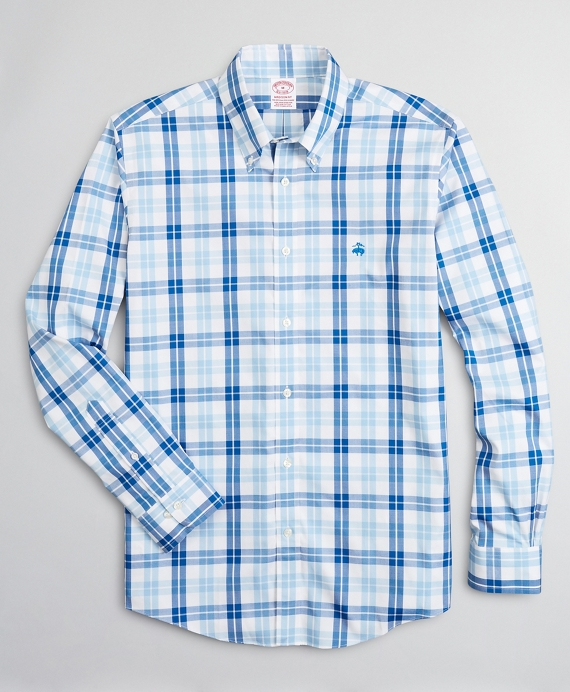 Stretch Madison Relaxed-Fit Sport Shirt, Non-Iron Check Blue