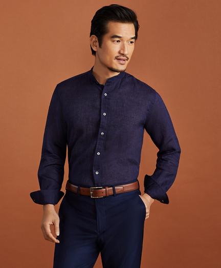 Golden Fleece® Regent Fit Band Collar Linen Sport Shirt