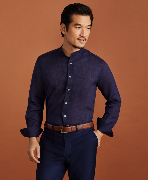 Golden Fleece® Regent Fit Band Collar Linen Sport Shirt Navy
