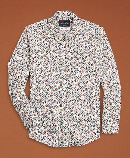Golden Fleece® Regent Fit White Flower-Print Poplin Sport Shirt