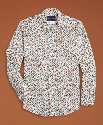 Golden Fleece® Regent Fit White Flower-Print Poplin Sport Shirt