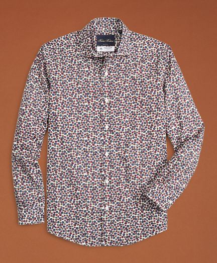 Golden Fleece® Regent Fit Navy Flower-Print Poplin Sport Shirt
