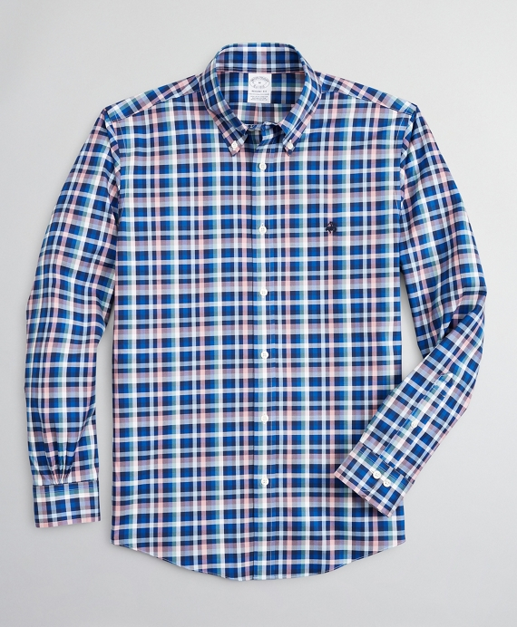 Stretch Regent Regular-Fit Sport Shirt, Non-Iron Multi-Plaid Blue