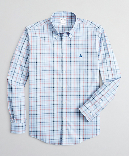 Stretch Regent Fitted Sport Shirt, Non-Iron Plaid