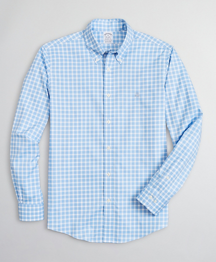 Brooksbrothers Stretch Regent Fitted Sport Shirt, Non-Iron Micro-Check