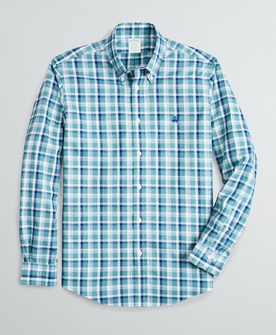 Stretch Milano Slim-Fit Sport Shirt, Non-Iron  Ground Check Blue