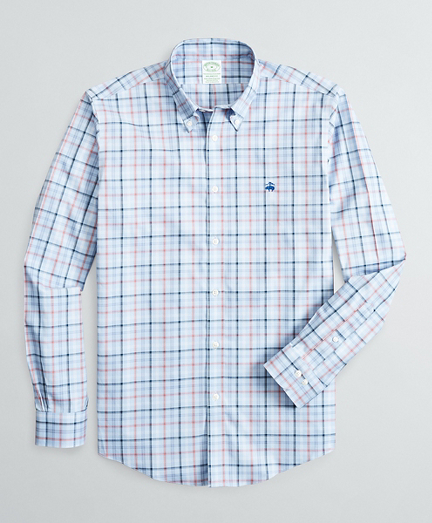 Stretch Milano Slim-Fit Sport Shirt, Non-Iron Plaid