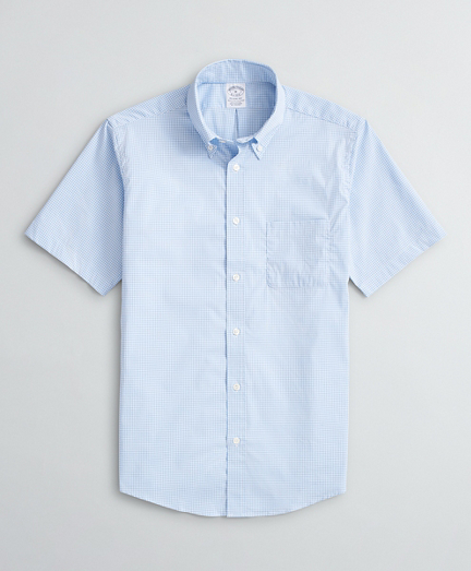 Regent Regular-Fit Sport Shirt, Performance Non-Iron with COOLMAX®, Short-Sleeve Gingham