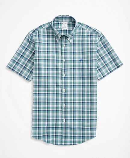 Brooksbrothers Stretch Regent Fitted Sport Shirt, Non-Iron Short-Sleeve Ground Check