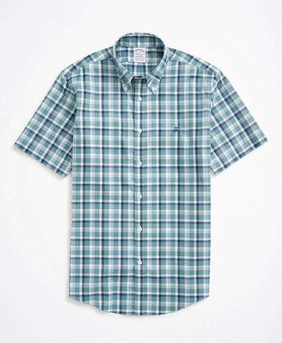 Stretch Regent Regular-Fit Sport Shirt, Non-Iron Short-Sleeve Ground Check Blue