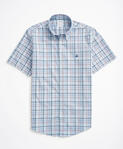 Stretch Regent Regular-Fit Sport Shirt, Non-Iron Short Sleeve Plaid