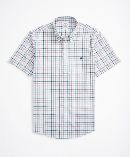 Brooksbrothers Stretch Regent Fitted Sport Shirt, Non-Iron Short Sleeve Plaid