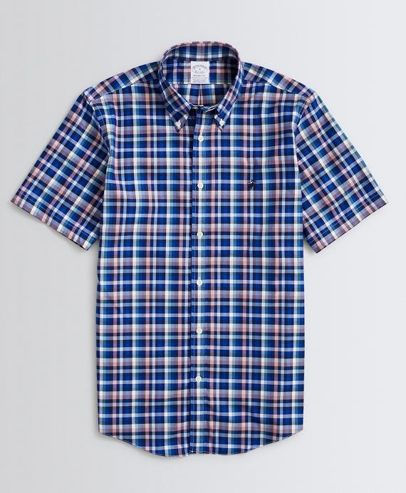 Stretch Regent Regular-Fit Sport Shirt, Non-Iron Short-Sleeve Multi-Plaid Navy