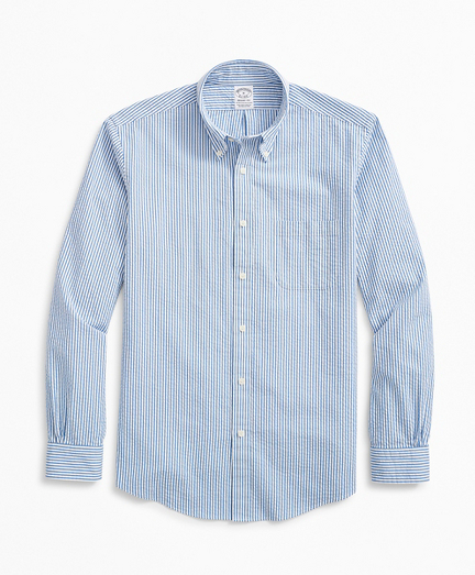 Stretch Regent Regular-Fit Sport Shirt, Striped Seersucker
