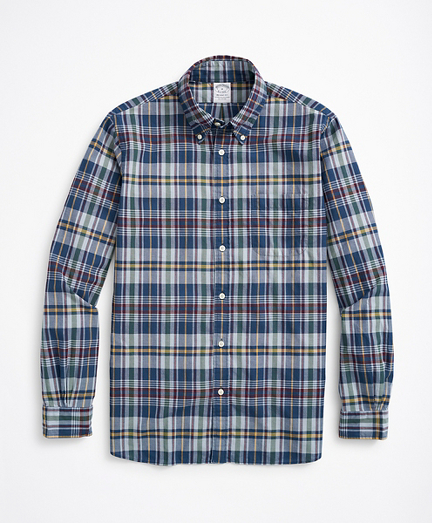 Regent Regular-Fit Sport Shirt, Navy Madras