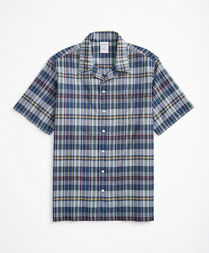 Regent Regular-Fit Sport Shirt, Camp Collar Short-Sleeve Madras
