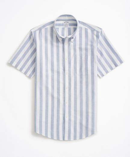 Stretch Regent Regular-Fit Sport Shirt, Non-Iron Short-Sleeve Stripe Oxford