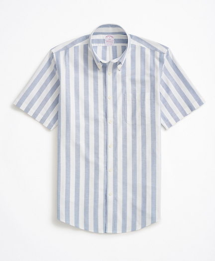 Stretch Madison Relaxed-Fit Sport Shirt, Non-Iron Short-Sleeve Stripe Oxford