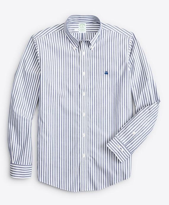 Stretch Milano Slim-Fit Sport Shirt, Non-Iron Bold Bengal Stripe Navy