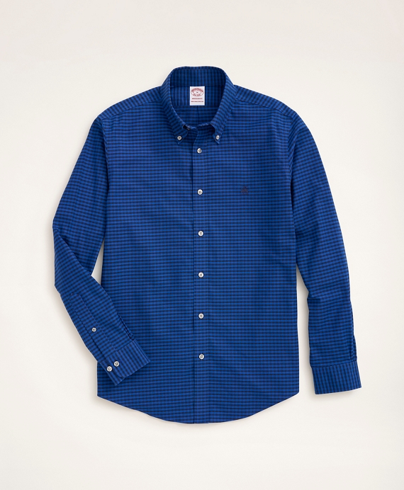 Stretch Madison Relaxed-Fit Sport Shirt, Non-Iron Gingham Oxford Blue